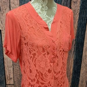 Lace Overlay Coral Tee